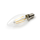 LED Lamp 230V, kaars, 3W, Filament, Warmwit, E14, helder