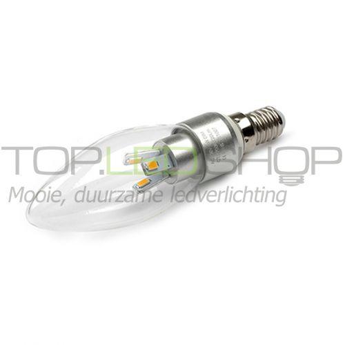 LED Lamp 230V, kaars, 3W, Warmwit, E14, dimbaar, helder