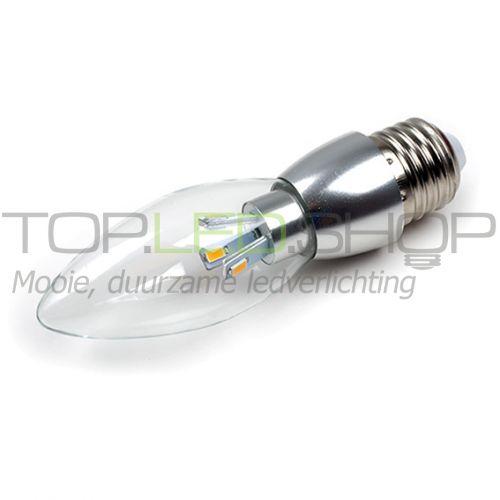 LED Lamp 230V, kaars, 3W, Warmwit, E27, dimbaar, helder