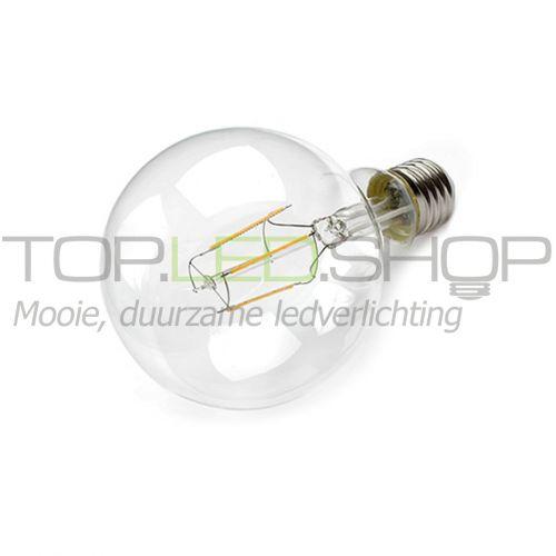 LED Lamp 230V, bol groot, 4W, Filament, Warmwit, E27, helder