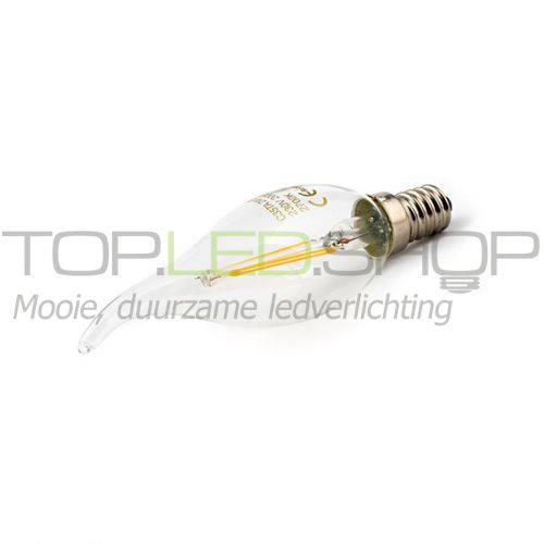 LED Lamp 230V, kaars, 2W, Filament, Warmwit, E14, helder vlam