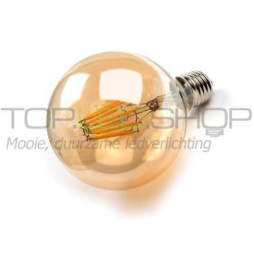LED Lamp 230V, bol, 6W, Filament, Extra-warmwit, E27, goud, dimb