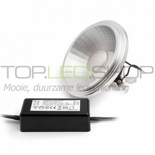 LED Lamp 230V, 12W, AR111, G53, Wit-warmwit, dimbaar